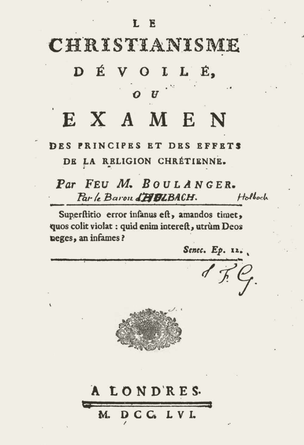 Titelblatt von Holbachs erstem religionskritischem Werk, das zuerst unter falschem Namen erschien.