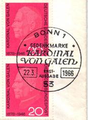 Kardinal Clemens Graf von Galen ... eine Briefmarke trotz Verwicklung in das NS-Regime